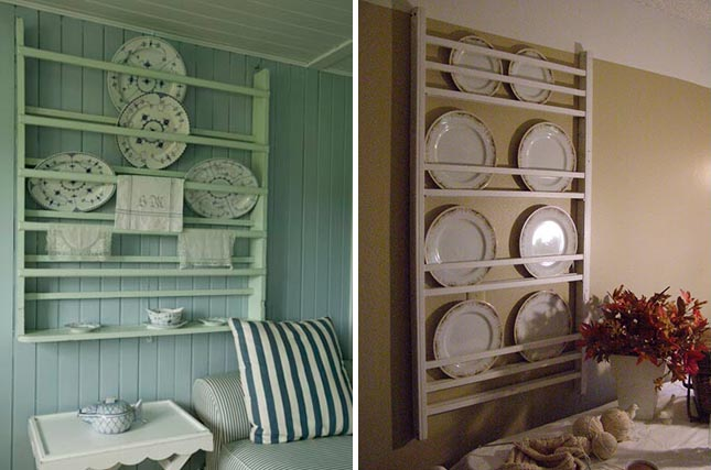 Display your antique china on the wall by putting them a rack.