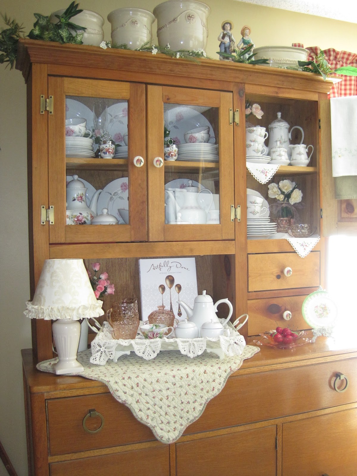 By arranging your antique china artistically in a hutch, you create a safe place for your plateware as well as a beautiful display.