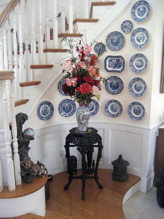 There are many different ways to display your antique china on a wall. Play around with it to see what works best for you!