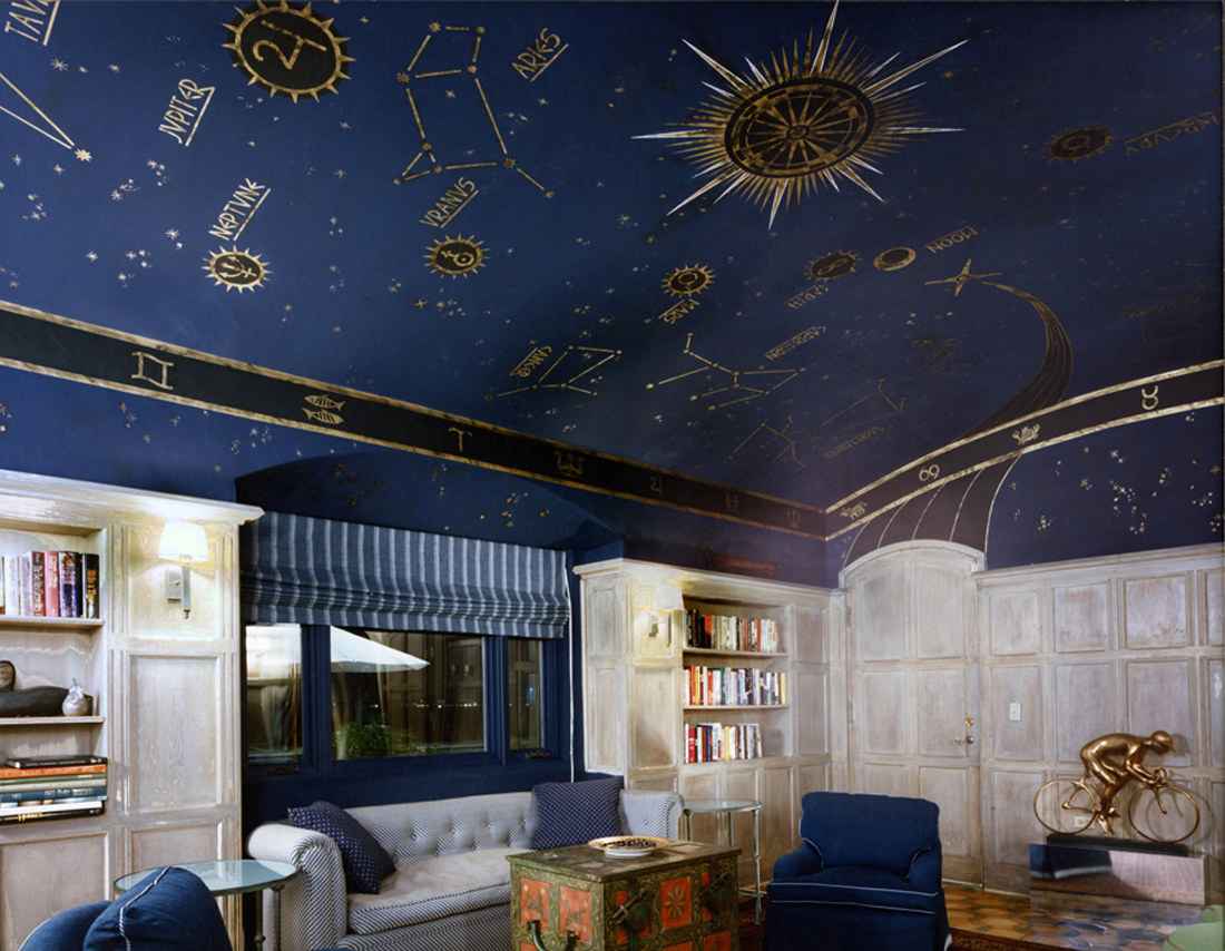 Using a celestial theme on your ceiling, whether it's in your living room, bathroom, bedroom, or child's room, can create a sense of magic and mystery.