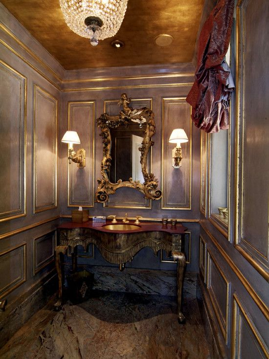 Go bold or go home. If you're looking for an easy way to turn your bathroom (or any other room) into an elegant work of art, consider painting your ceiling a bold metallic color.