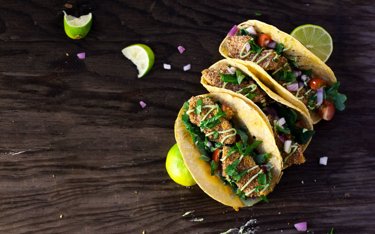cinco de mayo crispy squash tacos with jalapeno lime crema