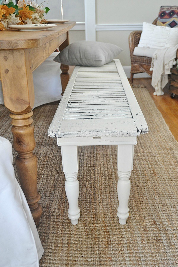 Use old shutters to create your own DIY bench.