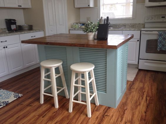 Want a kitchen island? Make your own out of shutters!