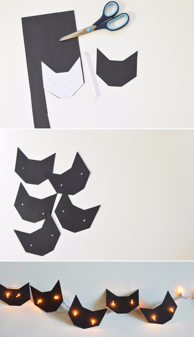 make cute black cats and friendly ghosts with string lights