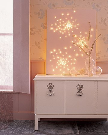 create a magical lightscape on canvas with string lights