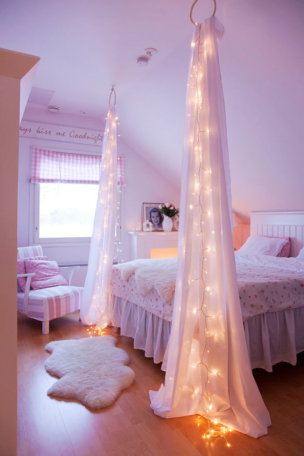 make a dreamy starry bedpost with string lights