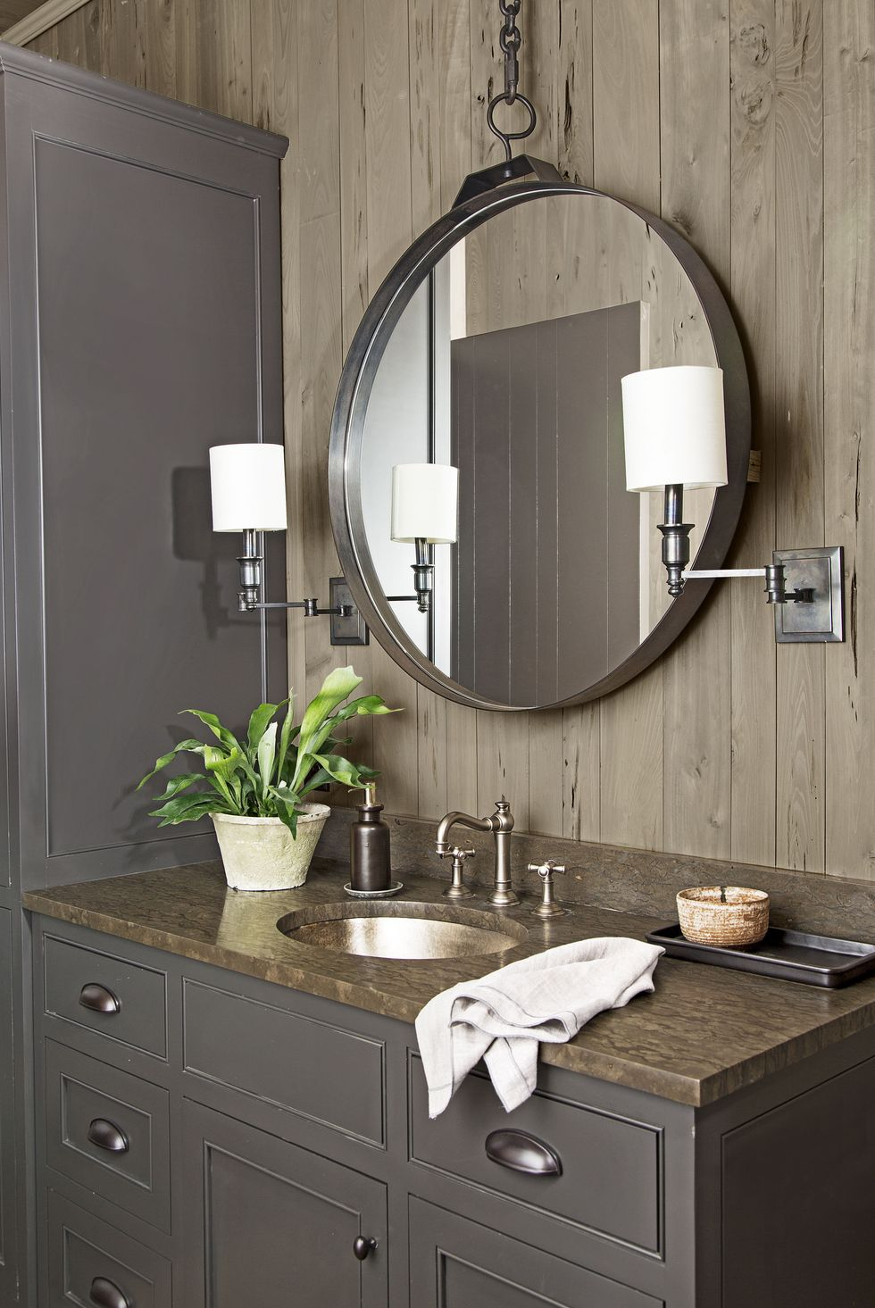 Soapstone can look beautiful in the bathroom, too. Source: Country Living
