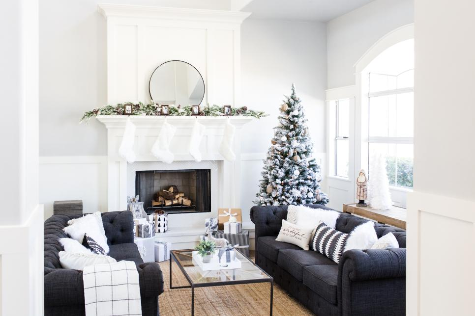 A white holiday decor makes the space look very elegant. Source: HGTV